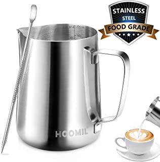 Milk Frothing Pitcher, HOOMIL Stainless Steel Espresso Steaming Pitcher 12OZ/350ML Coffee Milk Frother Cup with Decorating Art Pen for Espresso Machine, Milk Frother, Latte Art