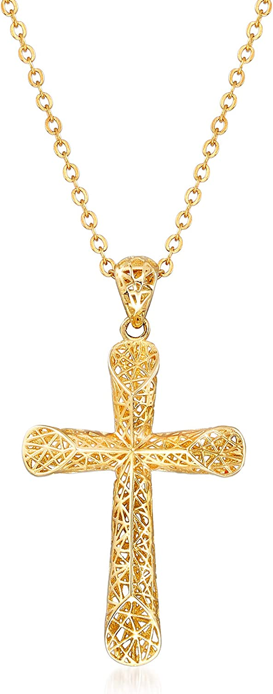 Ross-Simons 14kt Yellow Gold Openwork Cross Pendant Necklace