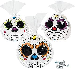 Fun Express - Day Of The Dead Cello Bags for Halloween - Party Supplies - Bags - Cellophane Bags - Halloween - 12 Pieces
