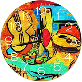 Picasso Silent Wall Clock,10 Inch Non Ticking Decorative Wall Clock Battery Operated for Bedroom/Living Room/Kitchen/Office/Classroom-Modern/Retro Style