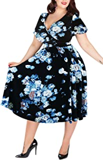 Nemidor Women's V-Neckline Stretchy Casual Midi Plus Size...