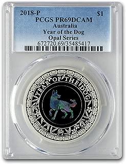 2018 AU Australia 1 oz Silver Opal Lunar Dog PR-69 PCGS 1 OZ PR-69 PCGS