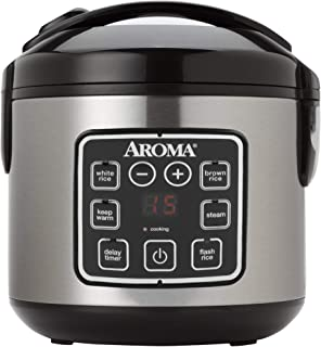Aroma Housewares ARC-914SBD 2-8-Cups (Cooked) Digital Cool-Touch Rice Cooker and Food Steamer, Stainless Steel (Renewed)