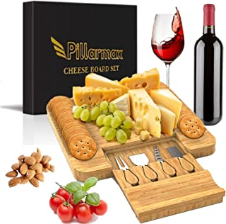 Pillarmax Cheese/Charcuterie Board with Cracker Groove & Drawer with Cutlery Set Distinctive Breakfast Dinner Serving Plate