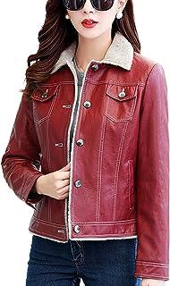 Chartou Women's Premium Button-Up Fleeced Lambskin Genuine Leather Moto Trucker Short Jackets