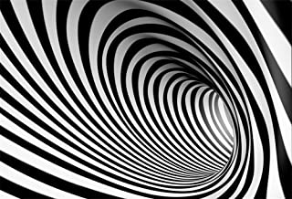 LFEEY 10x7ft Black and White Spiral Vortex Backdrop Adults Kids Portrait Photo Shoot Futuristic Perspective Pipeline Tube Endless Tunnel Striped Swirl Background for Photography Photo Studio Props