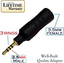 Josi Minea 2.5mm Male to 3.5mm Female Audio Adapter Converter Headphone Earphone Headset 3 Ring Jack - Stereo or Mono