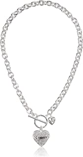 Women's Pave Heart with Logo Banner Pendant Toggle Necklace