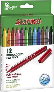 Rotuladores Alpino Coloring para niños - Estuche de 12 Colores con Punta Fina 3mm - Tinta Lavable - Perfecto para Manualid...