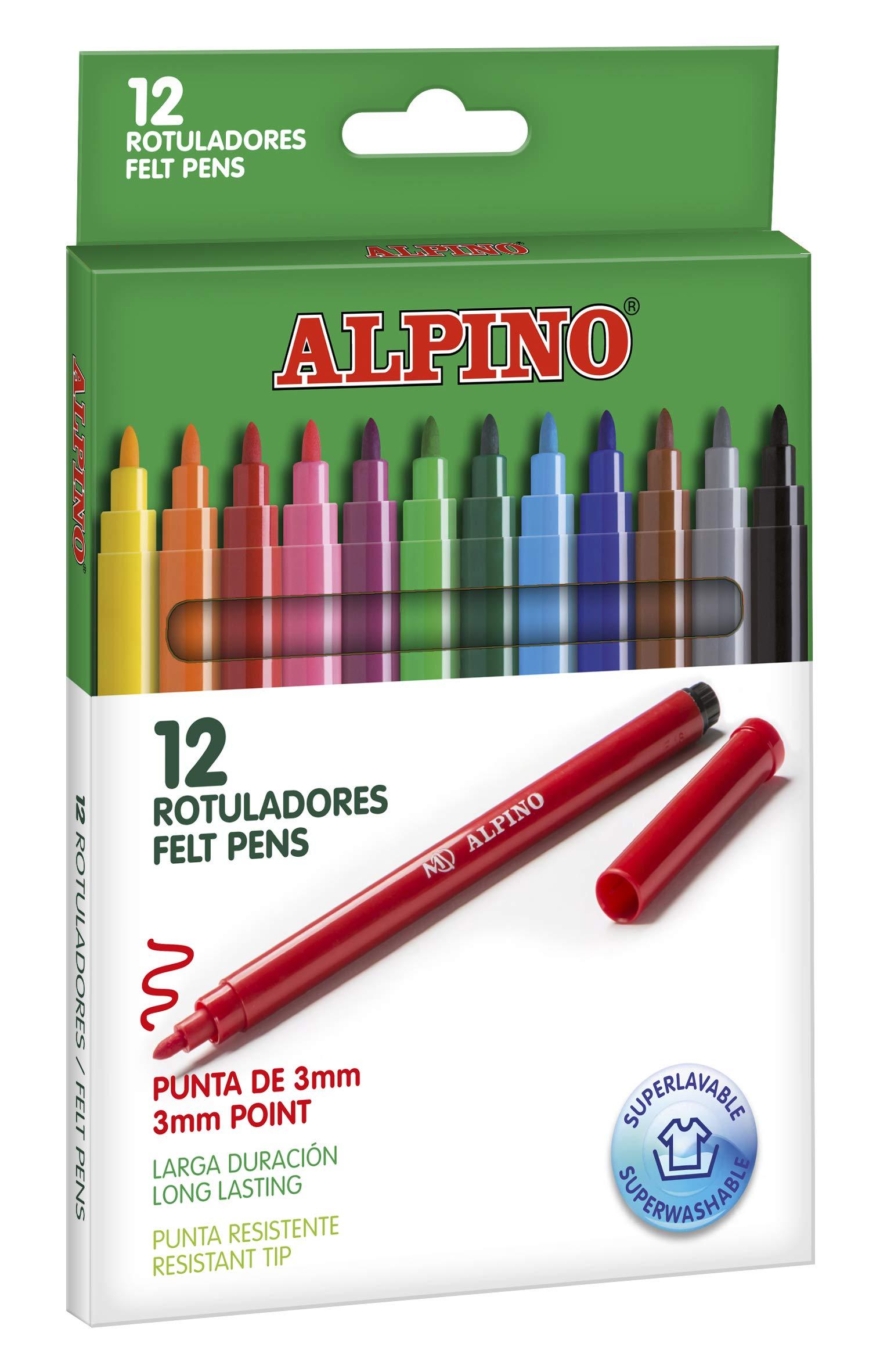 Alpino AR001002 - Pack de 12 rotuladores, colores surtidos: Amazon.es: Oficina y papelería