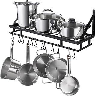 KES Porte-casseroles Étagère Murale Suspendue pour Organisateur de Rangement de Cuisine avec 12 Crochets 75 CM Noir Mat, K...