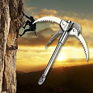 TargetEvo Stainless Steel Grappling Hook with 4 Folding Claws for Camping Hiking Survival Tree Rock Mountain Climbing