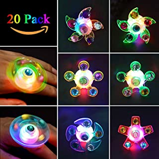 Party Favors for Kids Prizes 20 Pack Glow in The Dark Party Supplies Light Up Rings LED Party Favors for Kids boys Girls Bulk Hand Spin Stress Relief Anxiety Toys for Classroom Birthday Celebration