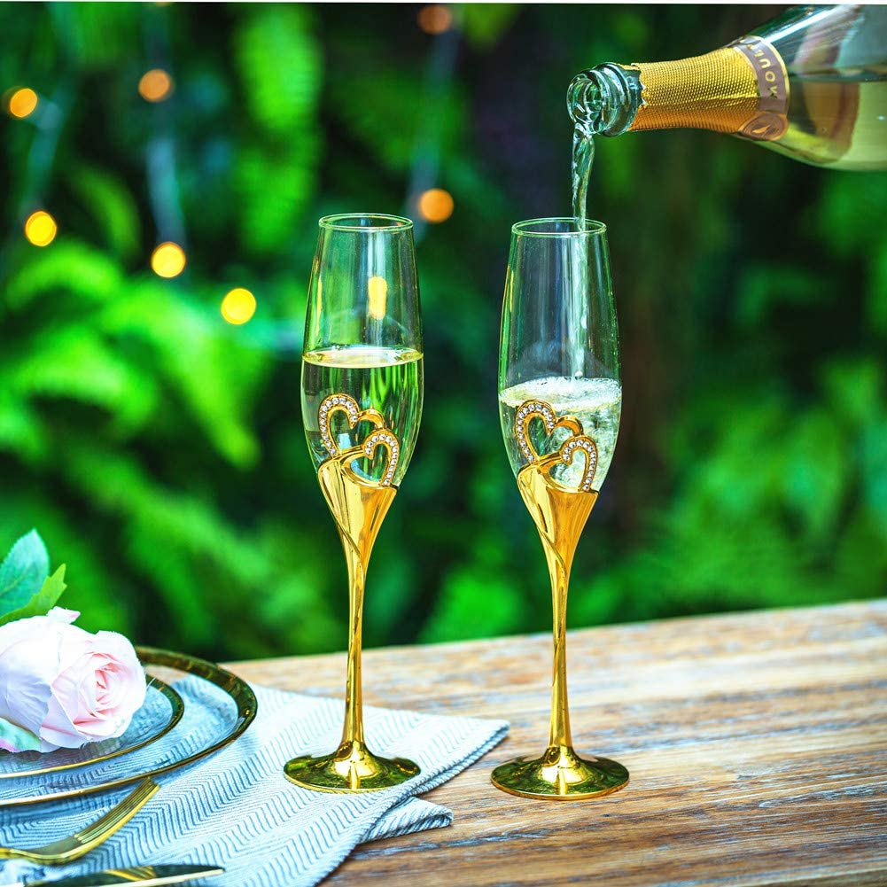 Engagement Anniversary Valentines Day and Special Events Sziqiqi Wedding Champagne Flutes for Bride and Groom Gold Toasting Flute Glasses Deluxe Rhinestone Rimmed Heart Decoration for Wedding