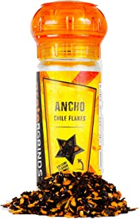Ancho Chile Flakes Hot Chili Flakes 1.5 oz. Refillable Grinder Bottle