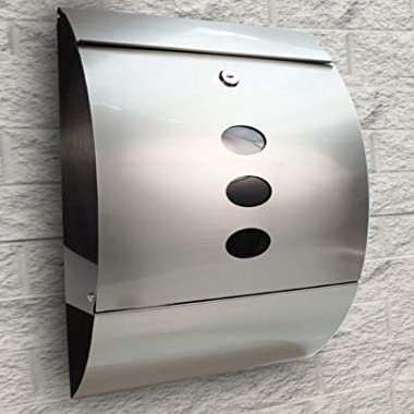 Durable Stainless Steel Mailbox Silver - Modern Wall Mount Lockable Mailbox, Outdoor, Metal, Large Capacity Commercial for Ho