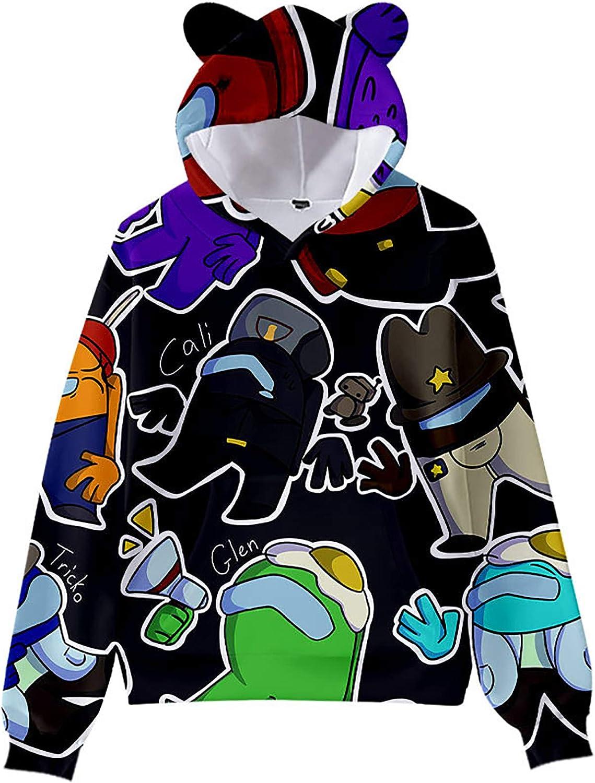 Maogou Among Us Sweat /à Capuche doreille de Chat pour Enfants Sweat /à Capuche imprim/é 3D Pull de Jeu Outwear d/écontract/é