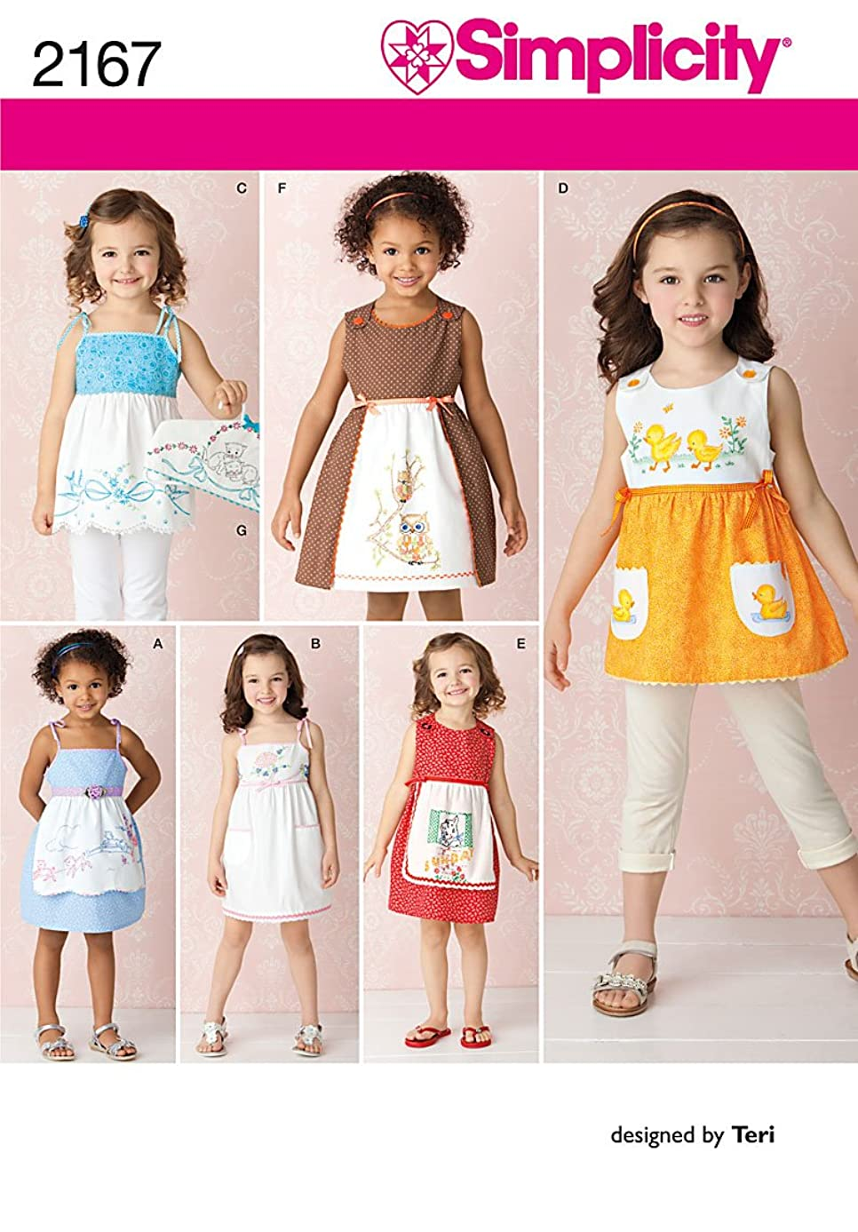 Simplicity Sewing Pattern 2167: Child's Dresses and Hanger Cover, Size A (3-4-5-6-7-8)