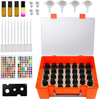 Essential Oil Storage Case for 35 Bottles of 5ml 10ml 15ml with Stickers, Pipettes, Funnels, Opener. Bottles Organizer Car...