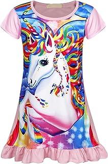 WonderBabe Girls Unicorn Nightgown Pajamas Shirt Printed Star Rainbow Pajamas Casual Pajamas Princess Nightdress