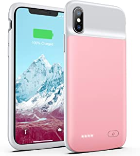 OMEETIE Battery Case for iPhone X/Xs/10, 4100mAh Ultra Slim Portable Charging Case, Protective Rechargeable Charger Case Extended Battery Pack Compatible with iPhone X Xs (5.8 inch) (Rose Gold)