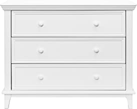 Easy-to-Assemble Transitional 3-Drawer Dresser - Built-in Hardware, Changing Table Height, 3 Spacious Drawers, Sculpted Wooden Knobs, Anti-Tip Kit, White