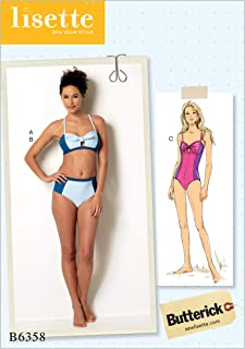 b4d11c36fc76d Butterick Patterns B6358 AX5 Misses' Tie-Detail Bikini and One-Piece  Swimsuit by