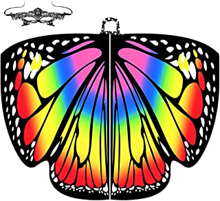 Butterfly Wings for Girls Fairy Wings Kids Halloween Costumes Dress Up Shawl Rainbow