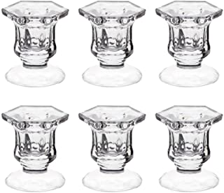 """Candle Holders, Dedoot Pack of 6 Glass Candle Holders Centerpiece Clear Candlestick Holders Fit 1 7/8"""" Pillar or 7/8"""" Tape..."""