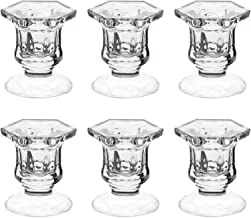 "Candle Holders, Dedoot Pack of 6 Glass Candle Holders Centerpiece Clear Candlestick Holders Fit 1 7/8"" Pillar or 7/8"" Tape..."