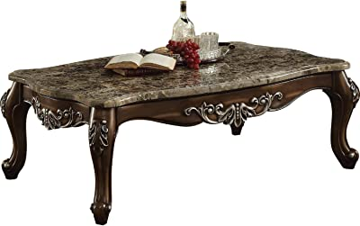 Benjara Benzara Wooden Coffee Table with Marble Top, Brown,