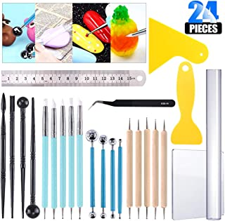 Glarks 24Pcs Carving Modeling Clay Sculpting Tool Set Including Ball Stylus Dotting Tool, Dual-Ended Pottery Tool, Ball Rod Stylus Tool, Ruler, Scraper for Embossing Art, Coloring, Nail Art Painting