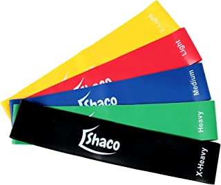 Fitness Resistance Loop Bands-set of 5,Yoga Pilates Workout, Crossfit Exercise Bands