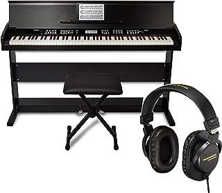 Alesis 88鍵盤 初心者向け 電子ピアノ フルサイズ・ベロシティ対応【3本ペダル/一体型スタンド/椅子/鍵盤カバー/譜面立て付き】ホワイト オンライン無料レッスン AHP-1W &ヘッドホンセット