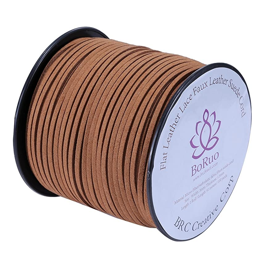 BoRuo Micro-Fiber Flat Leather Lace Beading Thread Faux Suede Cord String Velet 100 Yard Roll Spool 3mm Middle Brown Color with Acrylic JAr