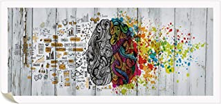 Visual Art Decor Unframed DIY Canvas Poster Left and Right Brain Advantage Picture Inspiration Motivation Education Science Canvas Prints Only Without Frame (Retro Prints Only)