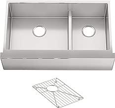 KOHLER K-5416-NA Strive Self-Trimming Farmhouse SmartDivide Undermount Large/Medium Double-Bowl Kitchen Sink with Tall Apron, 35 1/2 x 21 1/2