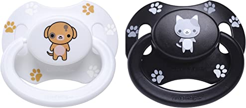 Littleforbig Bigshield Generation-2 Adult Sized Pacifier Dummy for Adult Baby ABDL - Black Kitty and White Puppy