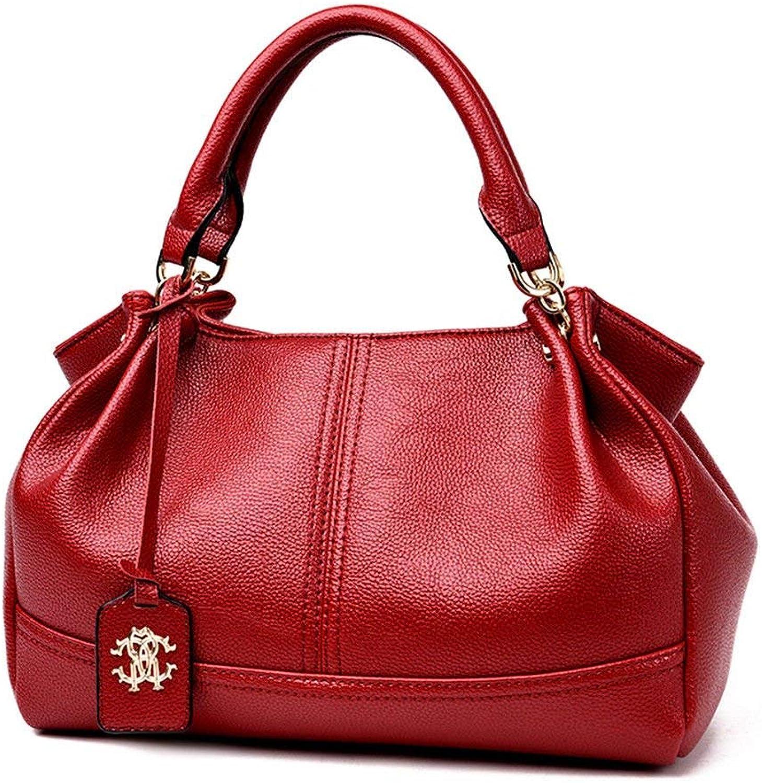 Ladies Handbag Lady's Soft Leather Leather Bag with Single Shoulder Bag (color   Claret, Size   32X21X16CM)
