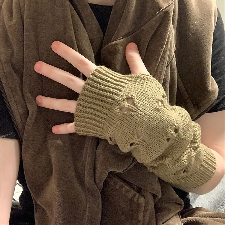 LUBINGT Winter Gloves Women Gloves Fashion Long Gloves Arm Crochet Warmer Knitting Hollow Mitten Warm Fingerless Gloves Christmas Accessories Gift (Color : Red, Gloves Size : One Size)