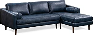 POLY & BARK Napa Right-Facing Sectional Sofa in Full-Grain Semi-Aniline Italian Tanned Leather in Midnight Blue