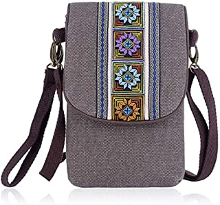 YaJaMa Vintage Embroidered Canvas Small Flip Crossbody Bag Cell Phone Pouch for Women Wristlet Wallet Shoulder Bag Coin Purse