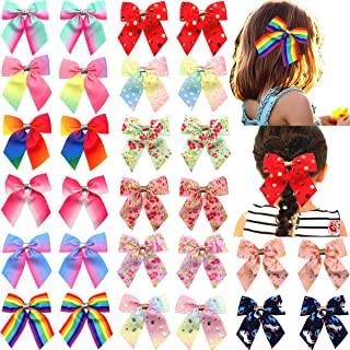 14 Pairs 28pcs Hair Bows for Girls Baby Toddlers Kids Hair Clips Grosgrain Ribbon Boutique Baby Girls Cheer Bow Alligator Hair Clips