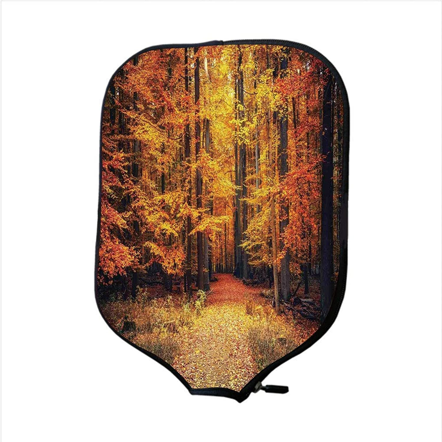 Fine Neoprene Pickleball Paddle Racket Cover Case,Farm House Decor,Magical Fall Photo in National Park with Vivid Leaf Plant Eco Earth Mystical Theme,orange Brown,Fit for Most Rackets