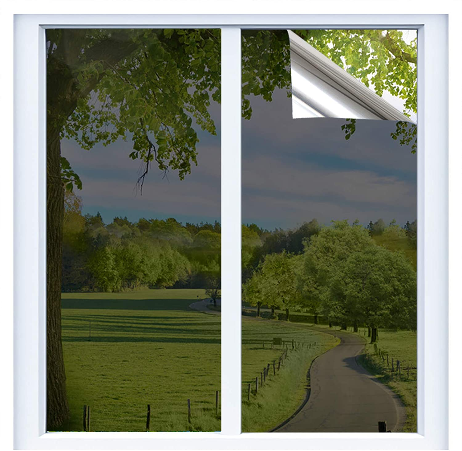 RTTECH Window Film Privacy One Way Mirror Window Tint for Home Sun UV Blocking Heat Control Daytime Privacy Solar Film Static Cling for Residential Office 35.6x78.8 Inches Black-Silver