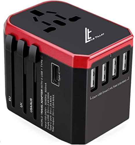 Universal Travel Adaptor 5.6A(MAX) - High Speed 2.4A - 4 USB and 1 Type-C for AU US EU UK - International Power Adapt...