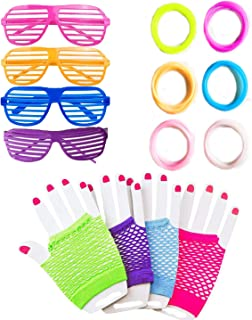 80er Party Kleid Neon Outfit Zubehör, 80s Jahre Henne Nacht Kurze Fishnet Handschuhe Fingerlos, Kunststoff Shutter Shading Gläser, Fluoreszierende Neon Gummy Armbänder Handgelenk-band Armreifen Gelee