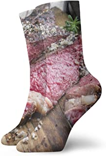 Buffalo Brown American Barbecue Dry Aged Wagyu Tomahawk Steak Board Food Drink Beef Red Angus Australian Bbq 3.35 x 11.8 Inch Socks Athletic Socks Sweat Wicking for Indoor and Outdoor Activities for M
