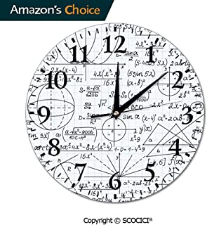 SCOCICI Hanging Round Clock PVC School Genius Smart Student Math Geometry Science Numbers Formules Ima Wall Clock Eco-Friendly Clock Battery Operated for Bathroom Bedroom Living Room School Ofiice 10