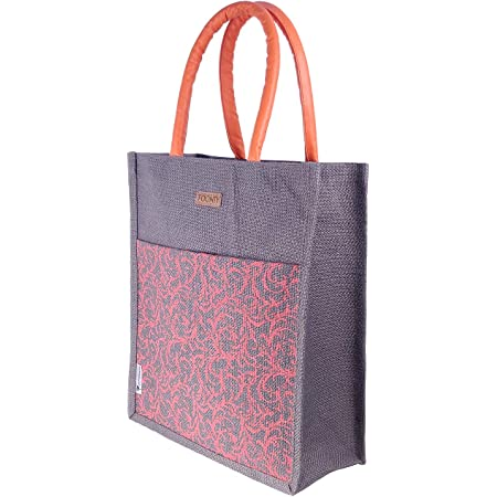 Foonty Jute Tote Bag/Lunch Bag/Gym Bag (FFFWB6016B_Multicolored)